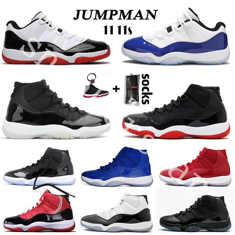 11 11s 25 الذكرى 11 أحذية الرجال لكرة السلة 2020 Jumpman ولدت منخفضة كونكورد UNC 11S كاب وثوب أسطورة الأزرق الفضاء المربى رجل إمرأة حذاء رياضة الرياضة