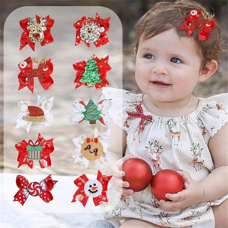 Bebek Noel Bow Firkete Toptan Sevimli Çocuklar Yaratıcı Kız Saç Klipler Parti Saç Takı Çocuklar için aksesuarlar Hediye Prenses Tokalarım