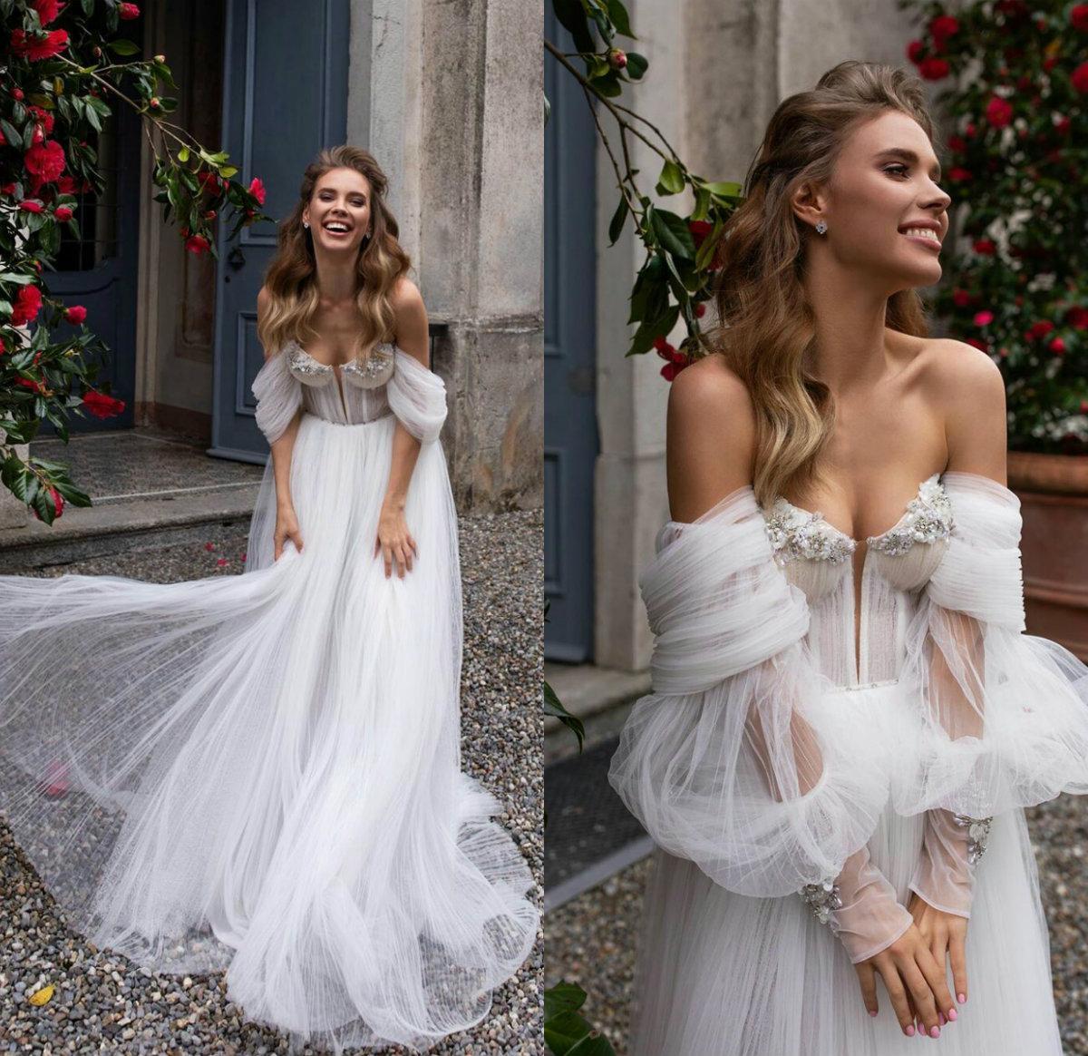 Bohemia una línea vestidos de boda atractivo del hombro de manga larga de la flor 3D Vestidos de novia con cuentas de barrido tren vestidos de boda de Boho