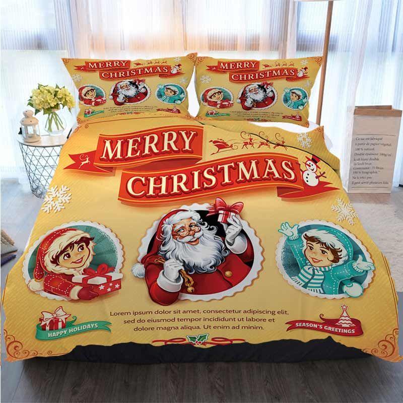 Merry Christmas Duvet Cover Set Vintage Christmas Card Polyester Duvet Cover Luxury Bedding Sets