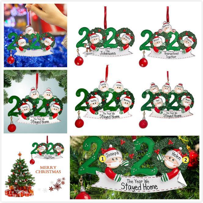 Quarantaine Salutations Pendentif Boule de Noël Arbre de Noël Décoration pendants Cadeau de famille Ornement avec le Parti cadeau OOA9087
