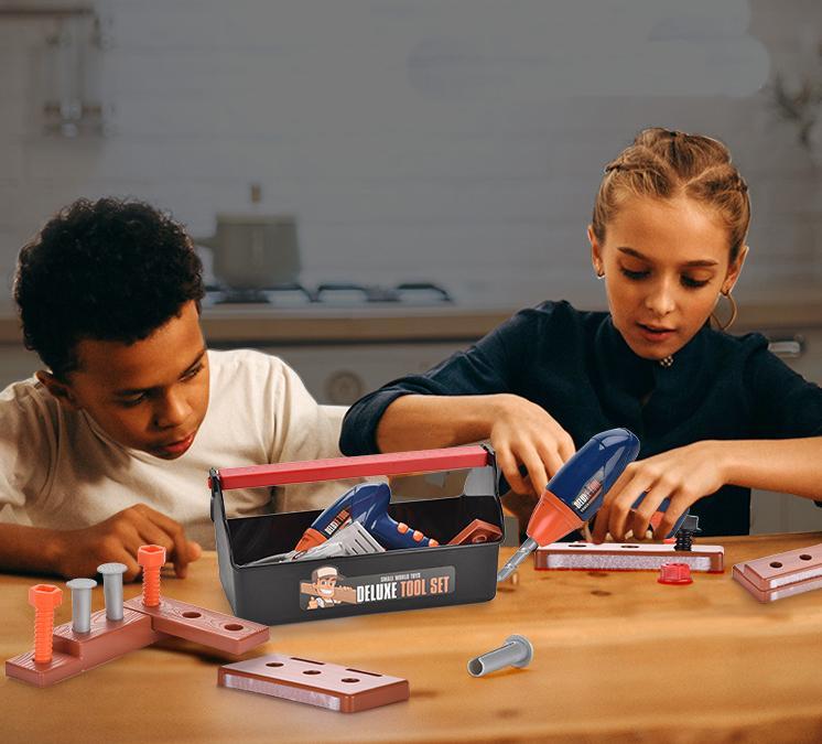 Deluxe carpintero Juego de herramientas de bricolaje niños Juegos de rol Juguetes de simulación de herramientas de reparación taladro del juego regalos Casa Ingeniería Boy educativos