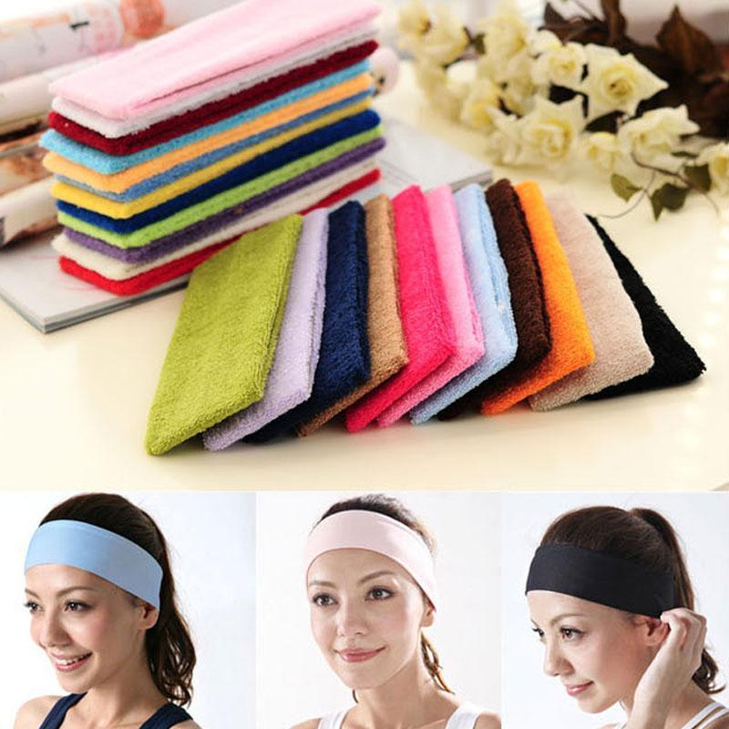 Yoga mujeres del color del caramelo de la banda elástica Deportes Accesorios para el cabello pelo de la danza Ciclismo venda ancha Banda Elástica