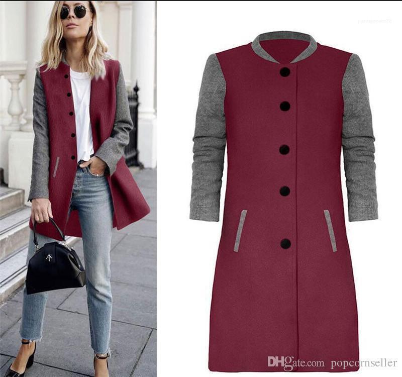 Comprimento Coats Moda Feminina Casual Vestuário Womens Designer Casacos Jaquetas europeus e americanos de Inverno New Color Patchwork Grande