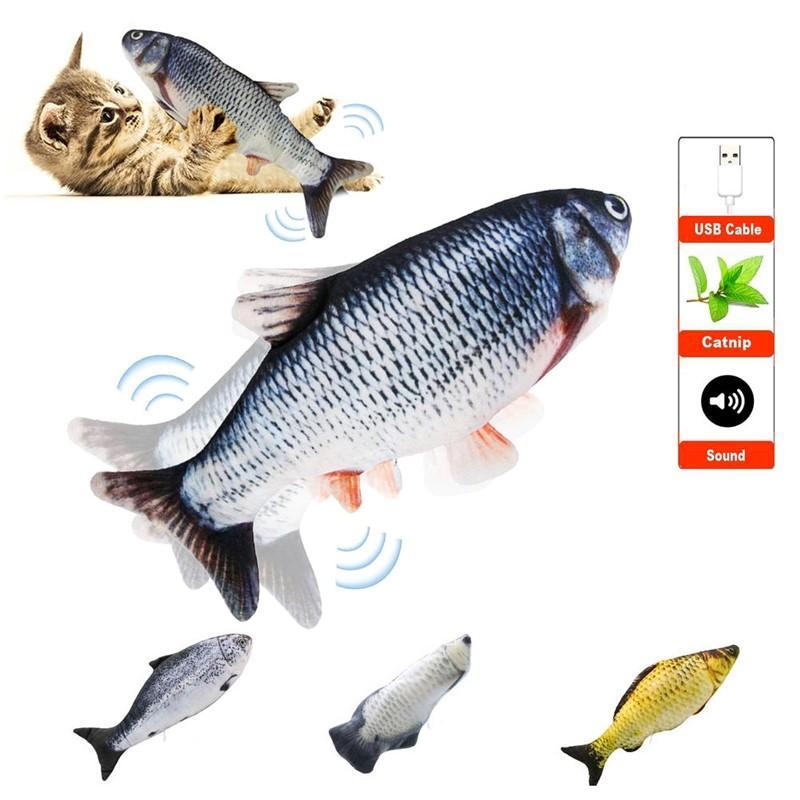 Köpek Kedi Çiğneme CNY2290 Isırma Malzemeleri oynamak için Simülasyon Balık Oyuncak Şarj Elektronik Pet Kedi Oyuncak Elektrik USB