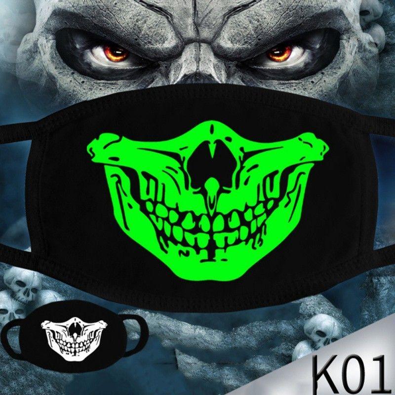 Luminous Viso Halloween scheletro partito anti polvere Denti Glow Bocca maschera scura in Maschere Notte Skull Masquerade Cosplay