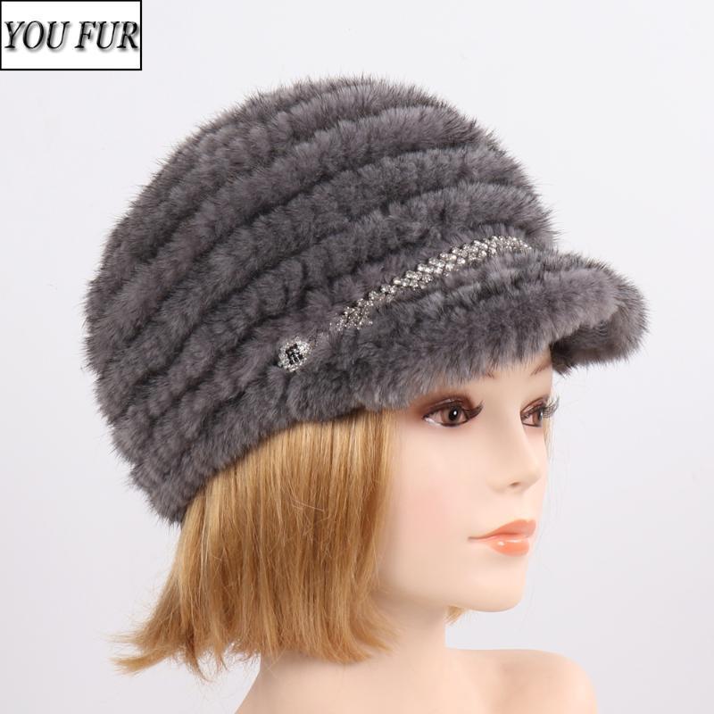 Vendita calda maglia donne reali Cappelli Lady inverno caldo Caps autentico lusso d'avanguardia ragazze in maglia 100% cappello di pelliccia naturale