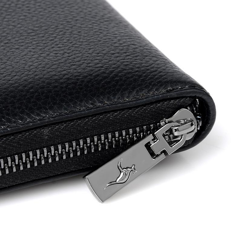 Подлинная кожаный кошелек Длинный кошелек Бизнес Мужчины мешок сцепления моды кожа молния большой емкости сумки
