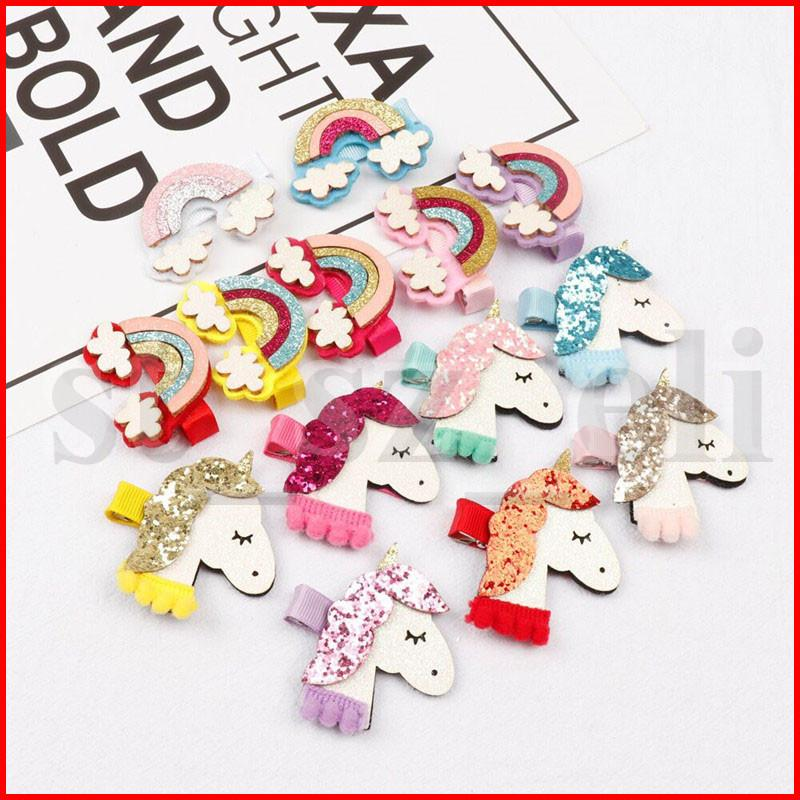 Rainbow Hair Clips Clips Sequin Unicorn Kids Barrettes Sweet Hair Pins Girls Christmas Halloween Party Hair Accessories
