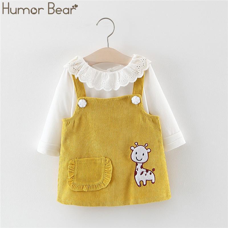 Юмор Медведь 2019 Девочки Осень Корейский Детская одежда Кукла воротник с длинным рукавом + ремешок платье 2Pcs костюм младенца Детская одежда Костюм