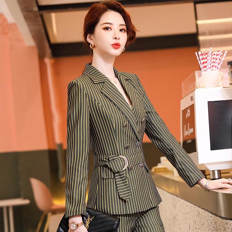 Automne et pantalon de costume de femmes d'hiver salopette professionnelle deux pièces Nouveau rayé veste double dames poitrine pantalon Slim