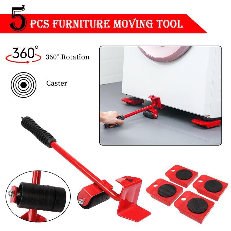 5PCS Muebles levantador Sliders Kit Profesión muebles pesados rodillos herramienta Mover Juego de ruedas Bar Mover Dispositivo máximo arriba de 100 kg / 220 libras
