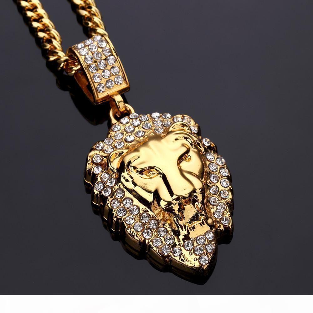 L Europa und die neue Vereinigte Staaten Ultra--Flash Drilling Lion Head Hip -Hop Halskette Schmuck Löwe-Kopf-Halsketten-Hip -Hop Mode Pendan