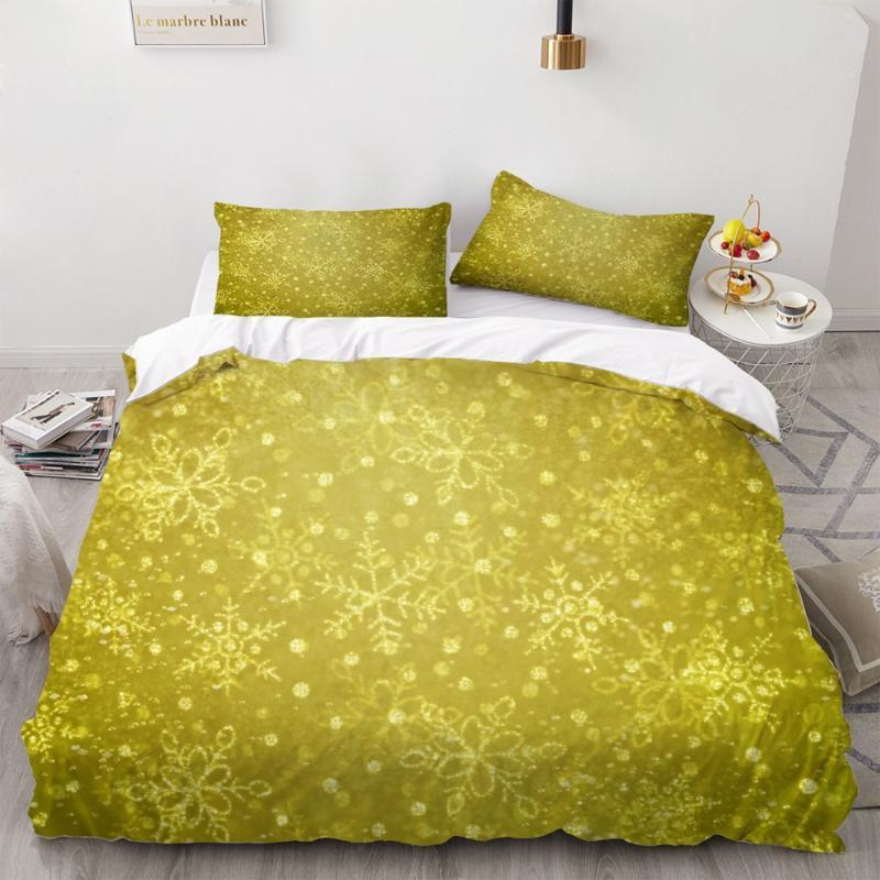 3D Snowflake Golden Background Bedding Set Christmas Duvet Cover Set Fashion Cartoon 2/3 Pieces Home Textiles