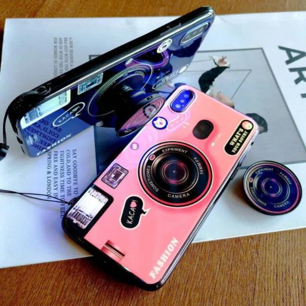 Blue Ray Caméra Support à 11 pour iPhone 6S Pro 6 7 8 Plus X XS Max Case silicone appareil photo mignon Support à couvrir les cas