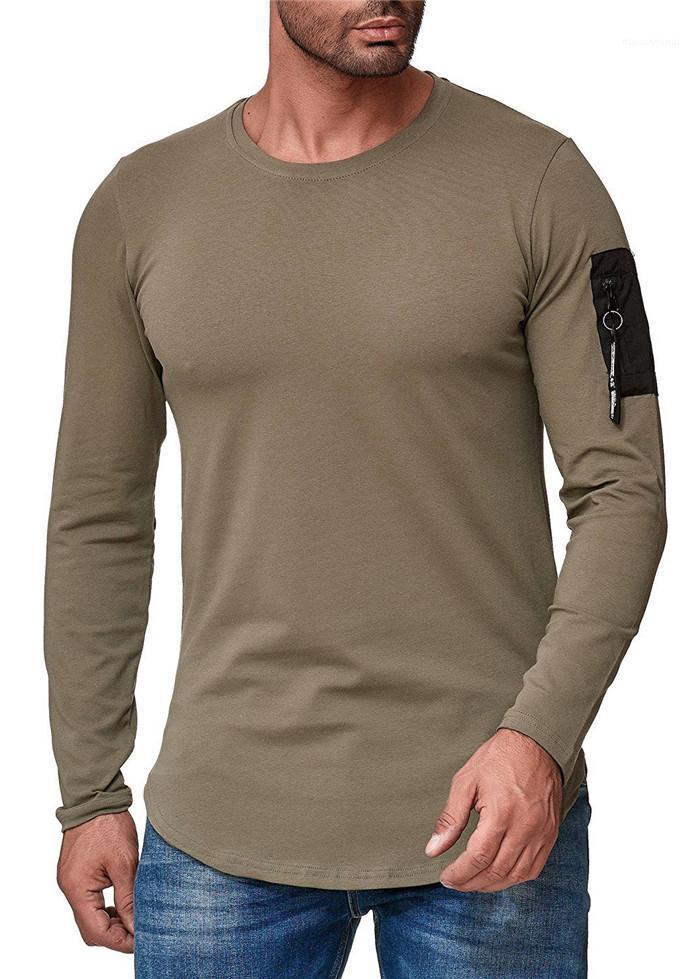 Пуловер Slim Fit Casual Tshirt с длинным рукавом футболки для мужской экипажной шеи сплошной цвет Homme Tees