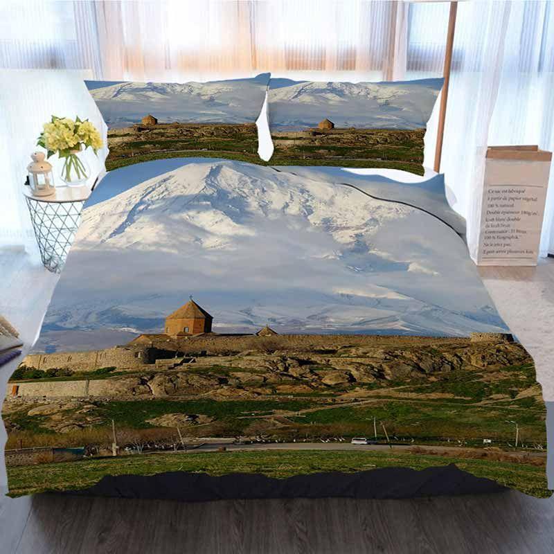 Antiga cama 3 peças Sets capa de edredão, antigo Mosteiro na frente da montanha, Casa de luxo macio edredon Consolador Tampa