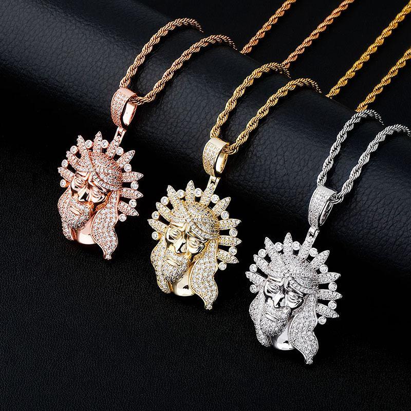 Los collares del diseñador de Bling circón mujeres de los hombres de Hip Hop de oro de 18 quilates de rodio plateado Collares Vintage Jesús collares pendientes de lujo