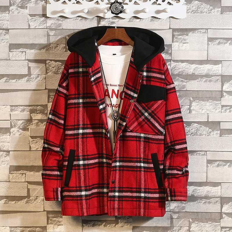 Con cappuccio di lana cappotto degli uomini 5XL 2020 Inverno Maschio Streetwear lana Trench Trench soprabito con cappuccio Cardigan Red Jacket # 3088