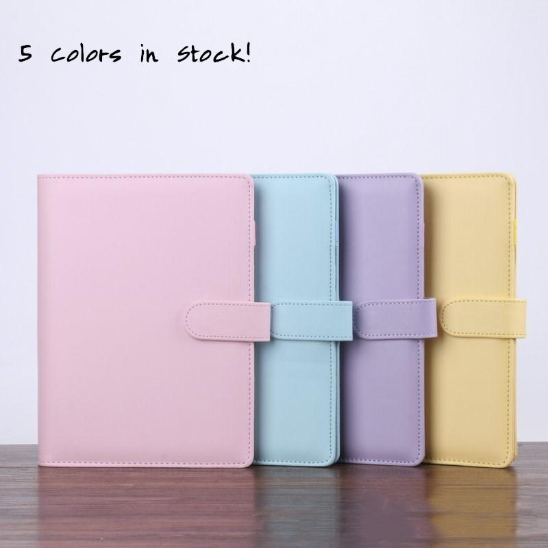 SEA 5 Colors A6 Empty Notebook Binder 19*13cm Loose Leaf Notebooks without Paper PU Faux Leather Cover File Folder Spiral Planners Scrapbook