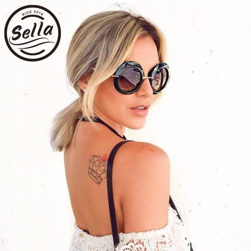 Fashion 2020 UV400 rotondo Occhiali da sole sovradimensionati Brand Designer Retro Designer Classico Telaio trasparente Signore Donne Occhiali da sole Polygon FKMTQ