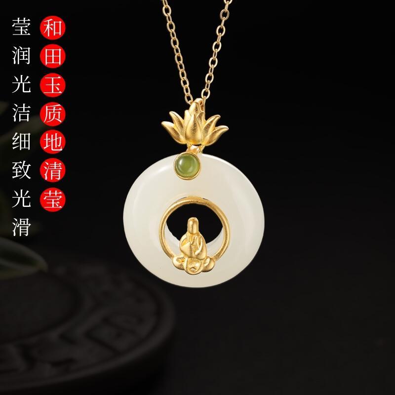 ожерелье Роскошный нефрит с коннотация женщины ожерелье цепь дизайнер ожерелье высокого качества повелительницы кулон ожерелья для рождественских подарков