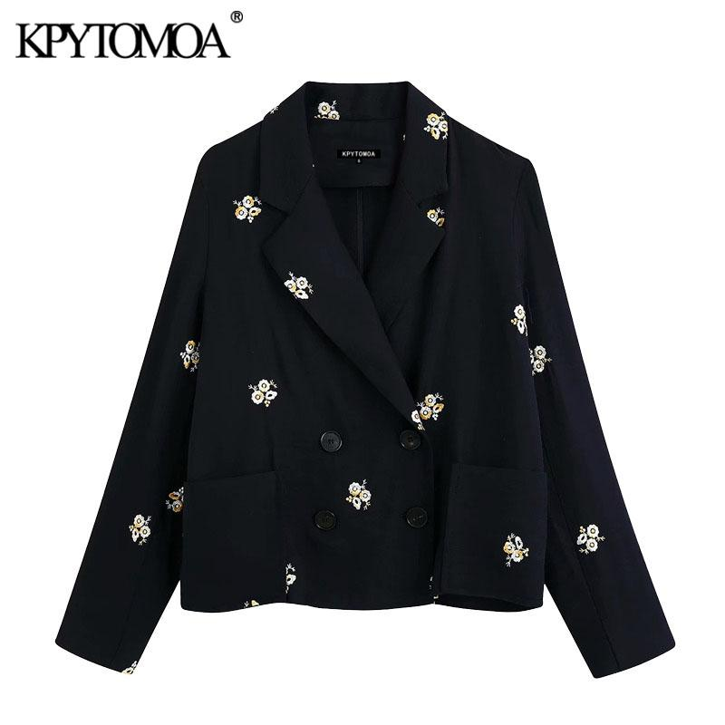 KPYTOMOA Mulheres 2020 Brasão Moda Abotoamento bordado floral Blazer vintage de manga comprida Pockets Tops Feminino Casacos Chic