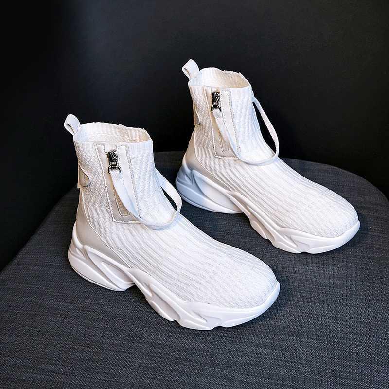 부츠 2021 양말 여성 신발 블랙 화이트 패션 발목 Zip chunky 스니커즈 캐주얼 여성