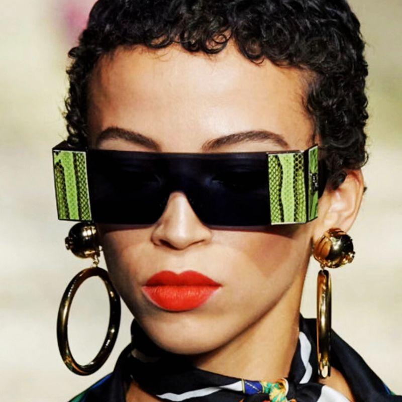 Rahmenlose Sonne Vintage Frauen Oculos Sonnenbrille Mode Männer 2020 Siamesische Gläser Rot Gelbe Linse Feminino Serpentine Gläser UV400 Jiqdf