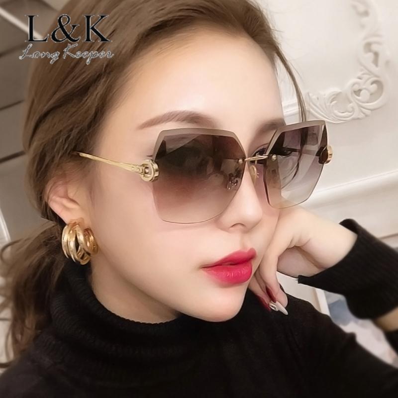 Irregular sem aro sun gradient longkeeper grandes tons de sol óculos moda óculos mulheres uv400 zonnebril gcccx
