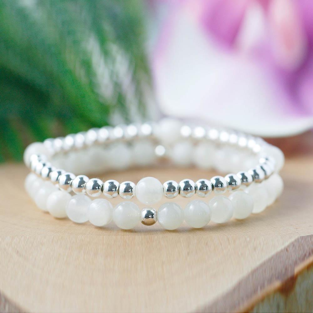 MG0938 6 mm Blanc Moonstone et plaqué argent Bracelet en perles Set cristaux Healing Mala Birthstone Bracelet à