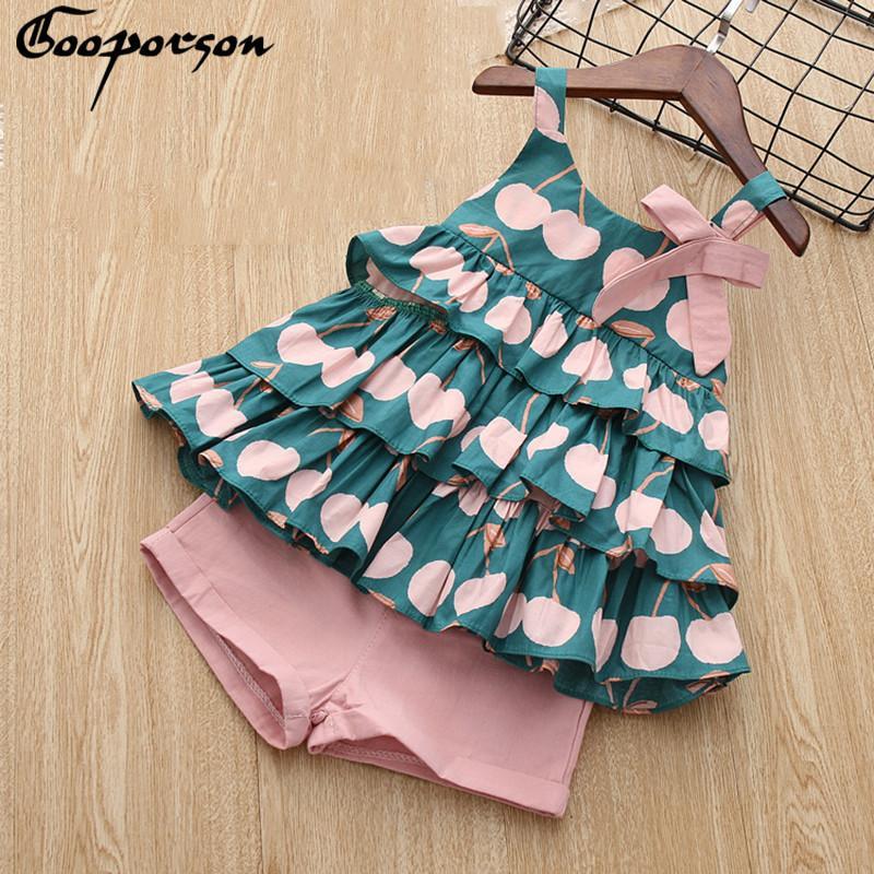 Camisa nueva marca de ropa de las muchachas del verano fijados torta y pantalones cortos de algodón rosa preciosos conjuntos lindo para los niños y los niños Vestido de tirantes Y200831