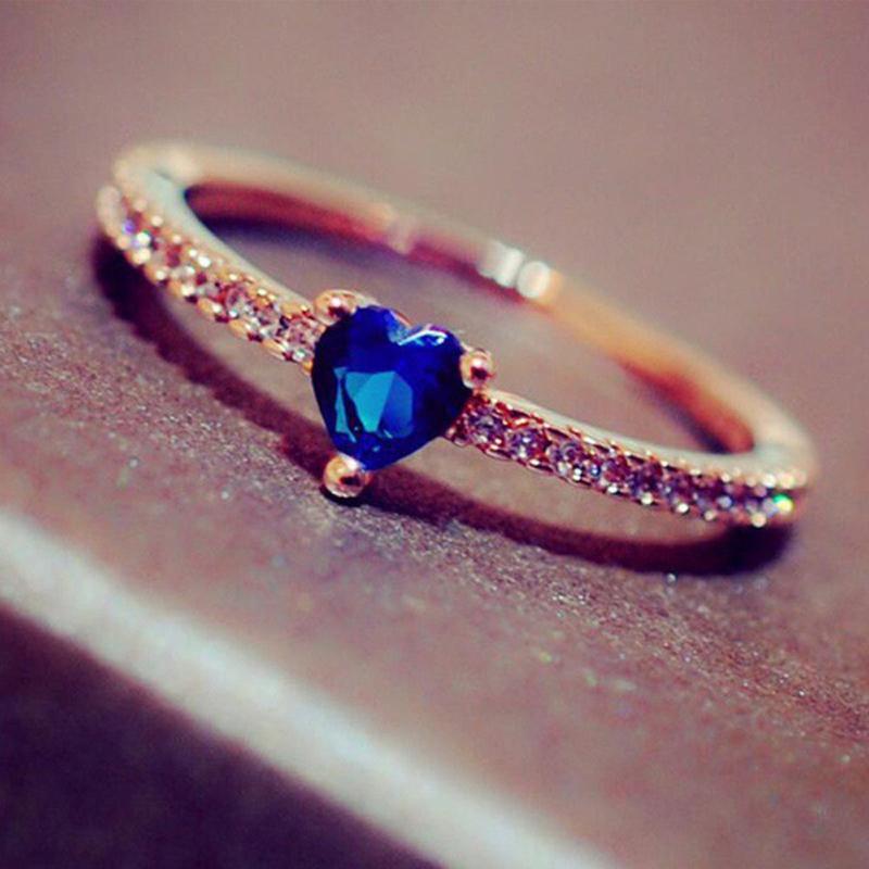 Romantik Stil Tatlı Kalp Kadınlar Mavi Taşlı 3 Renk Parti Hediye Moda Takı KAR355 İçin Rings Şeklinde