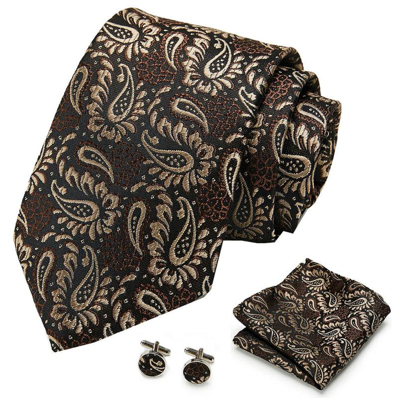 Lazos de arco S118 Hombres Corbata Corbata de seda Paisley Plaid Marrón para gemelos pañales de alta calidad Sistema de bolsillo de boda para hombre