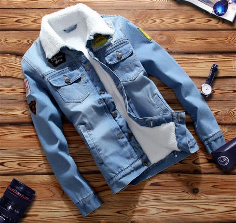 Moda İnce Tek Breasted Erkek Jean Ceket Casual Erkek Giyim Erkek Tasarımcı Jean ceketler Epaulet Penelled