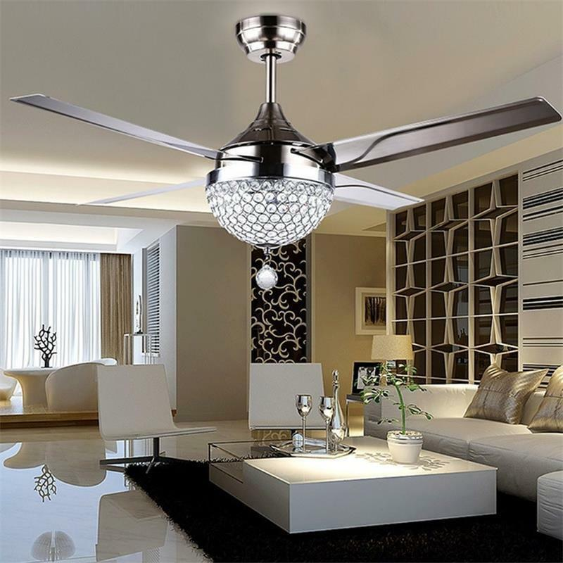 2021 44 Crystal Ceiling Fan Light With Led Light Kits Remote Control 4 Stainless Steel Blades Modern Chandelier Pendant Lighting From Whitedew 223 98 Dhgate Com