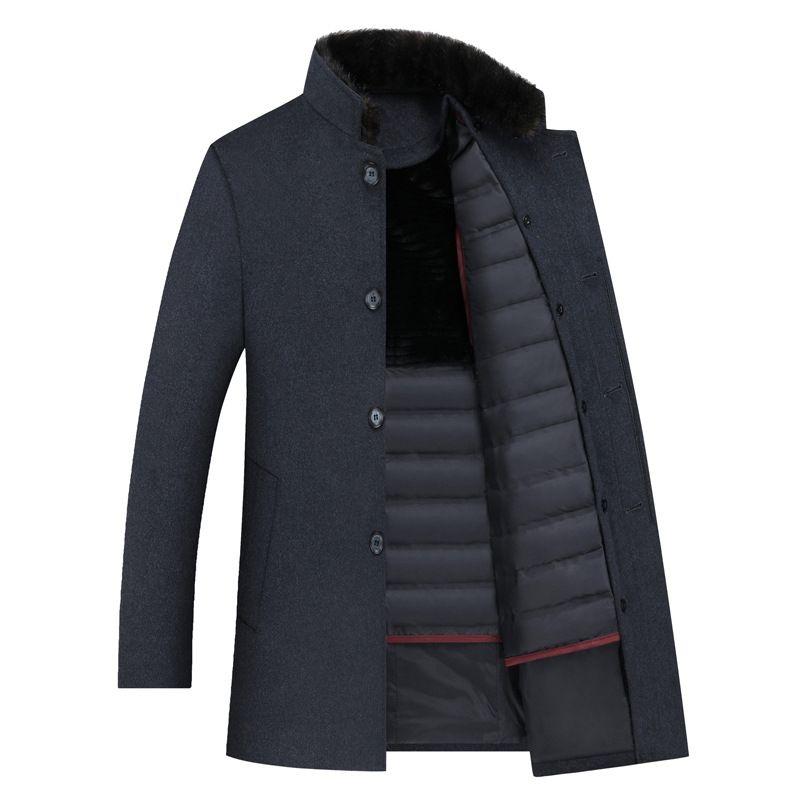 Casaco de lã Men Thick destacável Duck Brasão de Down Liner lã quente Mens Inverno Mens Trench longo Overcoat Men Inglaterra Estilo