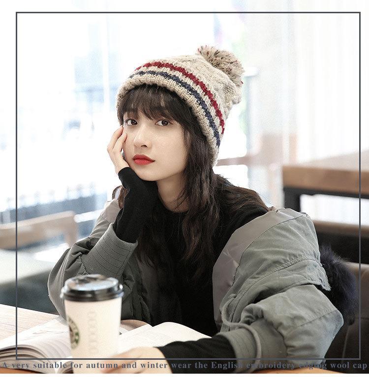 Şapka Kadın Sonbahar / kış twist Şapka Moda Örme Sıcaklık Kalınlaşmış Hood Açık Yün Yün