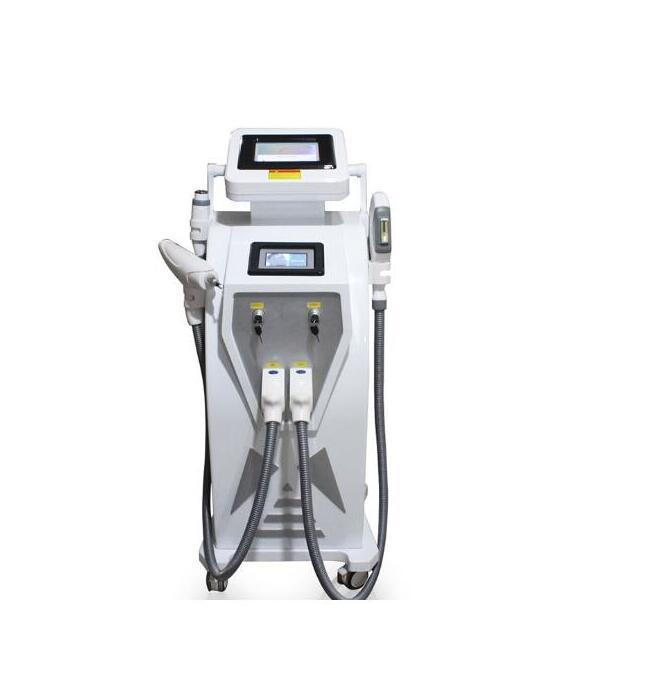 Двойной экран 4 in1 Многофункциональный OPT IPL Лазерная терапия машина татуировки Оборудование для удаления пигмента сосудистой терапии акне с Q Switched