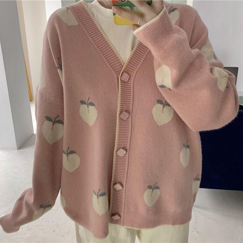 patrón de Kawaii Peach rebecas de las mujeres del invierno del otoño de Corea del suéter de manga larga de color rosa Mujer suelta prendas de punto chaqueta de punto sueter de mujer