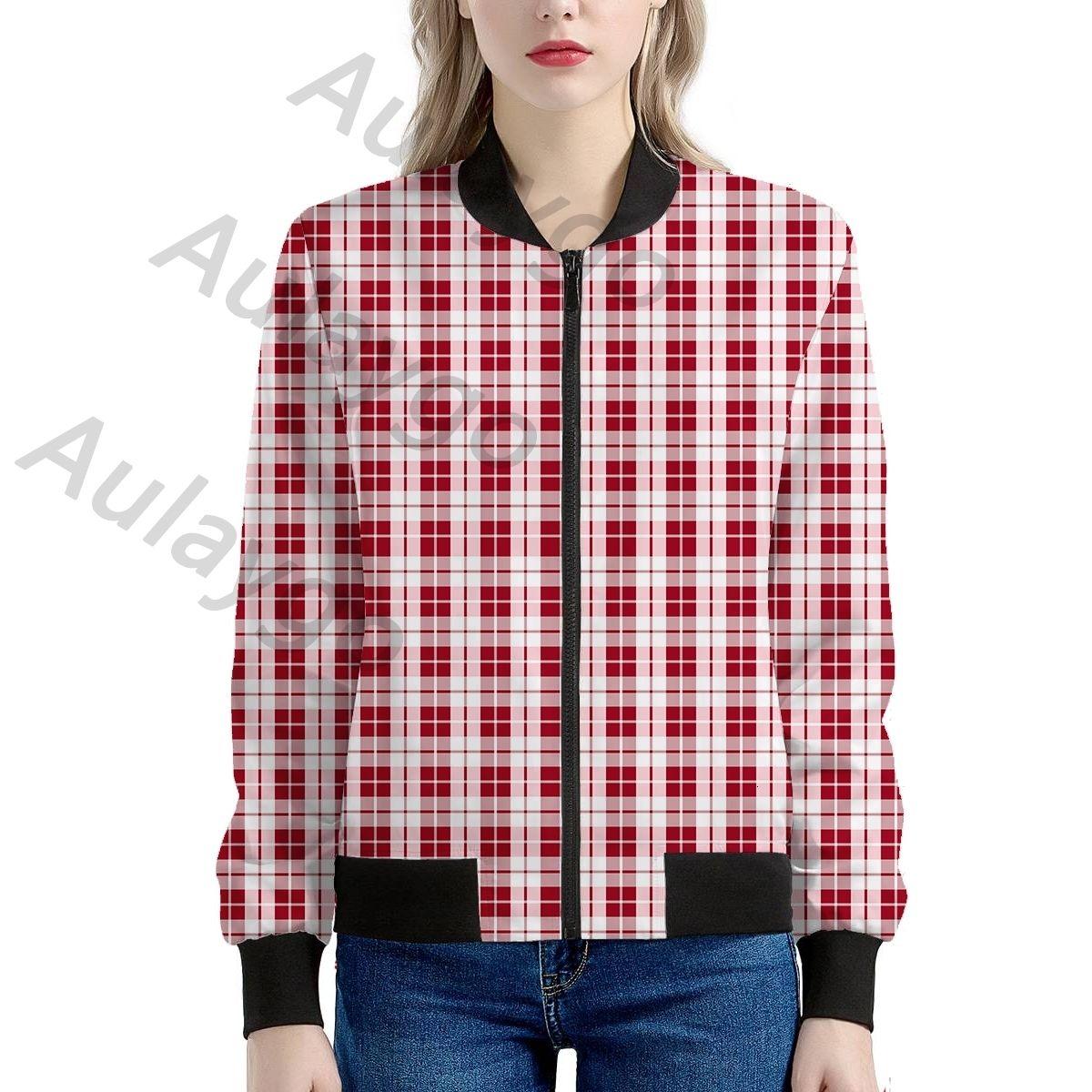 Giacca a quadri di Aulaygo Donne Rosso Bianco Verificare il colore del cappotto Crop maniche lunghe femminile Zipper signora Short Outwear Windbreaker personalizzato