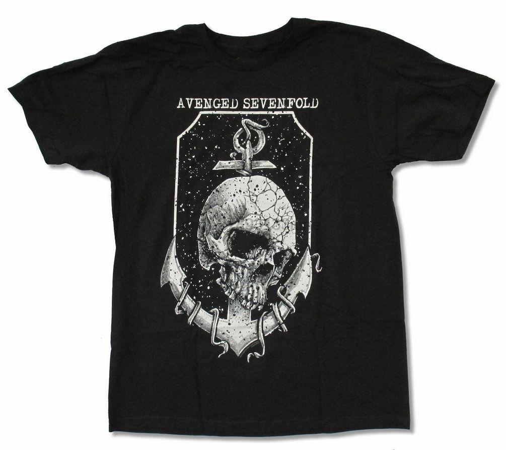 Avenged Sevenfold Anchor Black T Shirt Новый взрослый A7X Свободный размер Top Ajax Смешной Tee Shirt