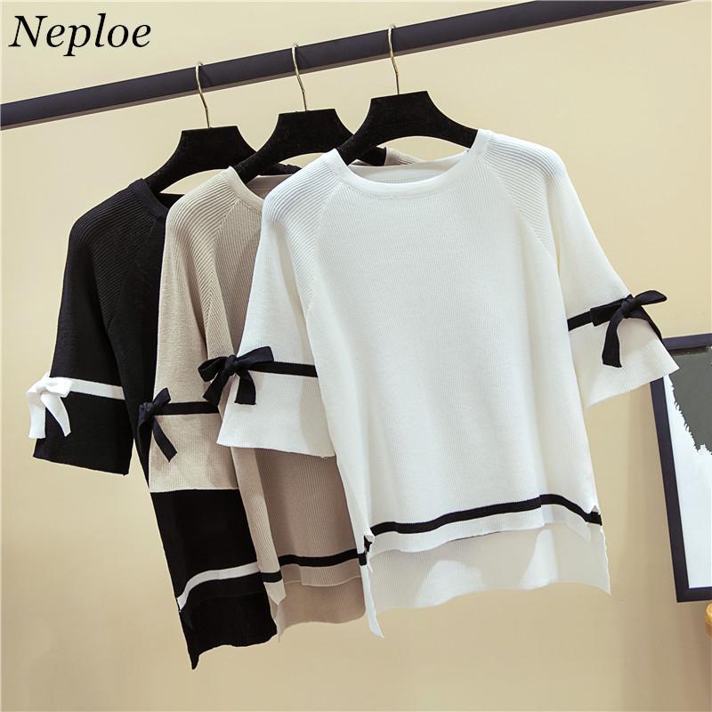 Neploe ocasional del verano arco de punto camisetas de las mujeres 2020 de nueva media manga T sólido del O-cuello flojo femenino Moda Camisetas 67369