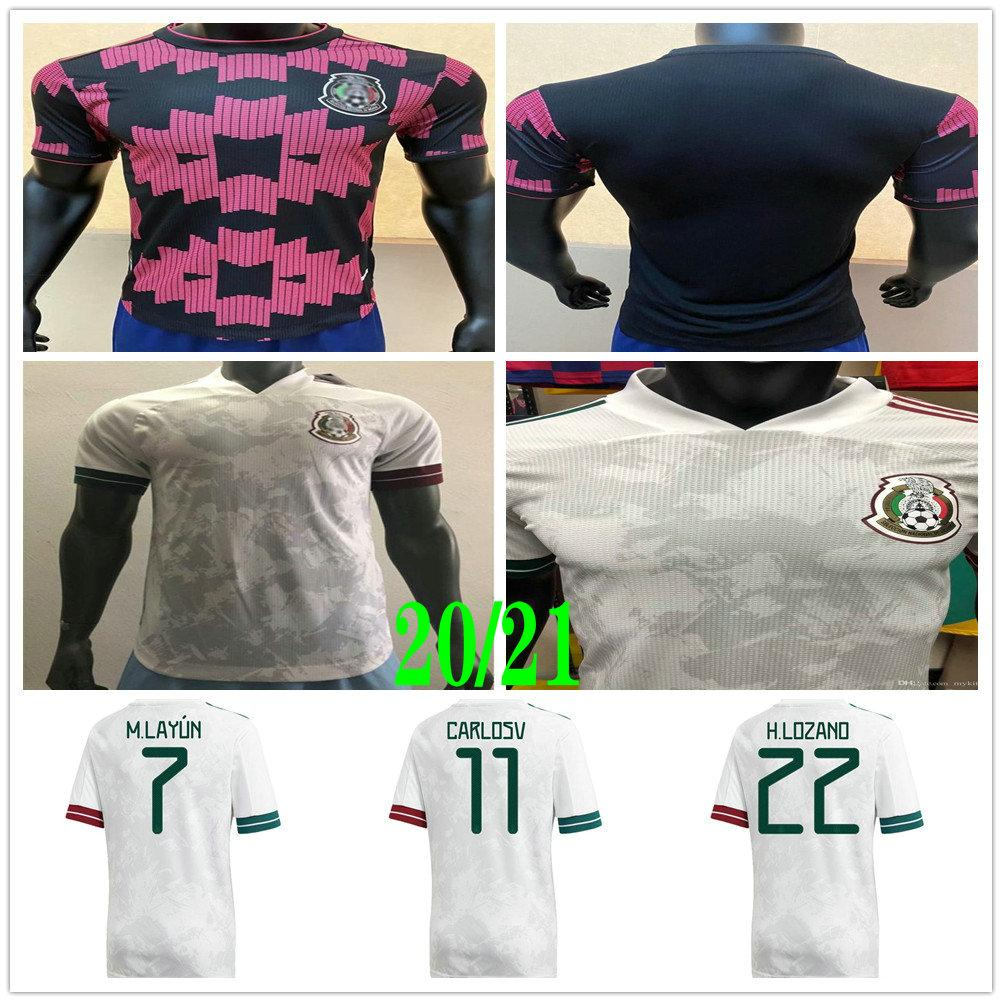 Player Version 2020 2021 Mexico Soccer Jersey National Home Red 20 21 CHICHARITO LOZANO GUARDADO CARLOS VELA RAUL Custom Football Shirt