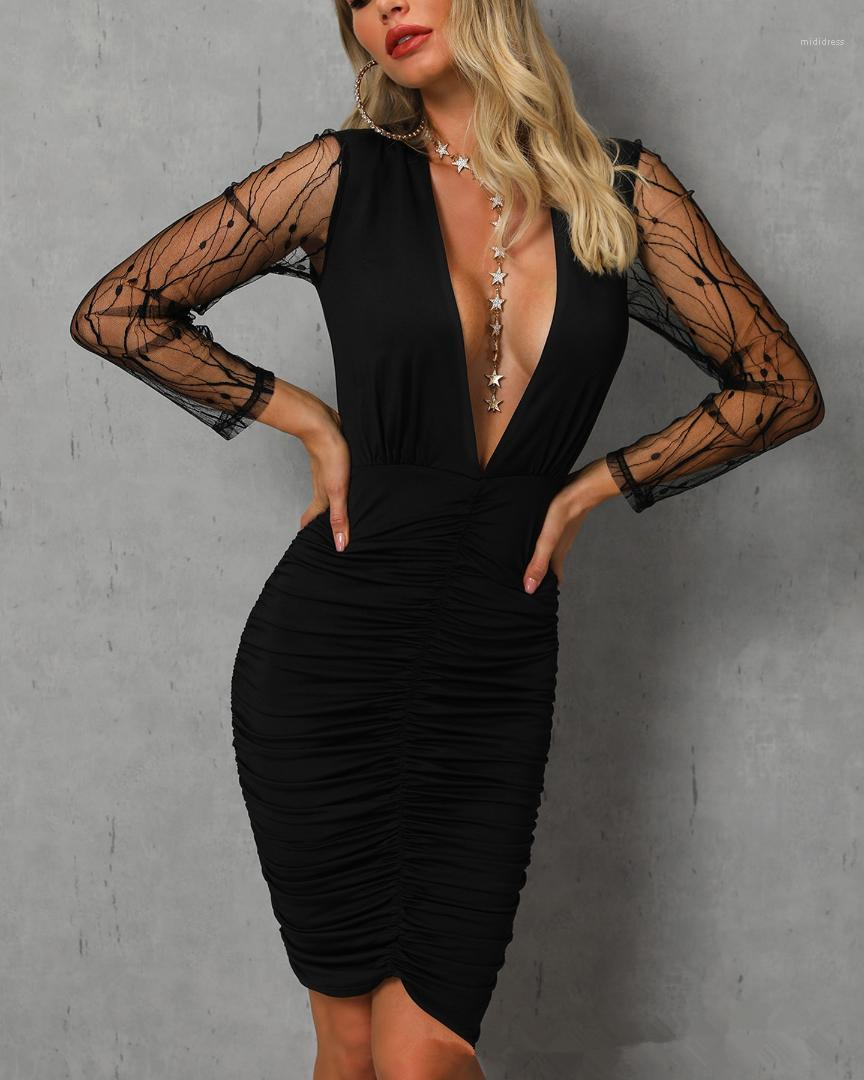Verkaufen Kleidung Langarm knielangen Partei Designer-Kleid-Spitze mit tiefem V-Ausschnitt Damen Kleider Sommer Patchwork dünnen heißen