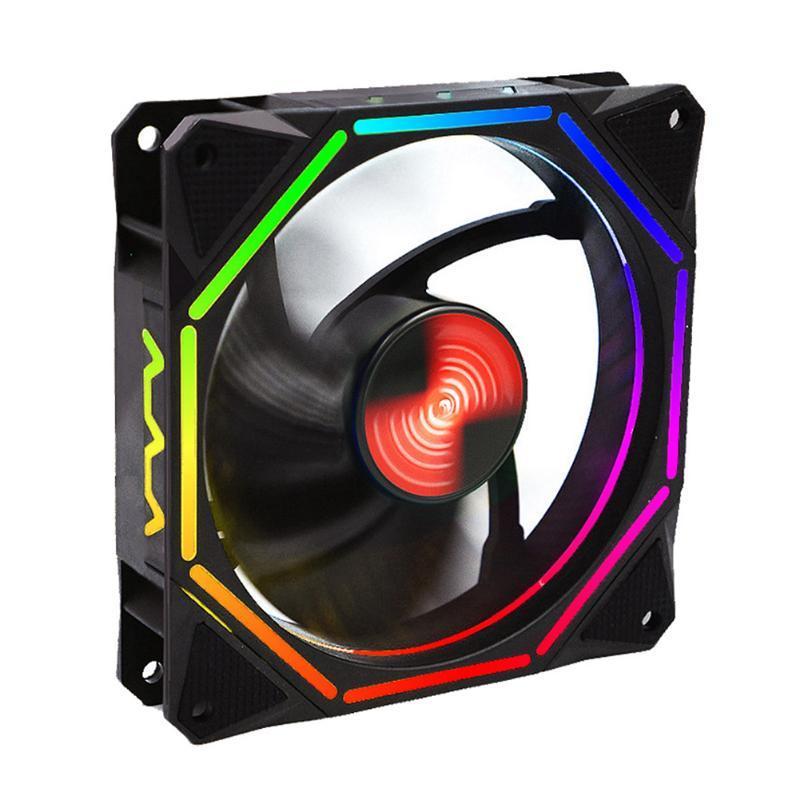 12CM تحكم التحكم عن بعد PC التبريد المضادة للاهتزاز منخفضة الضوضاء واضعة هيدروليكي LED مصباح الحاسوب فان القضية ABS RGB ضبط