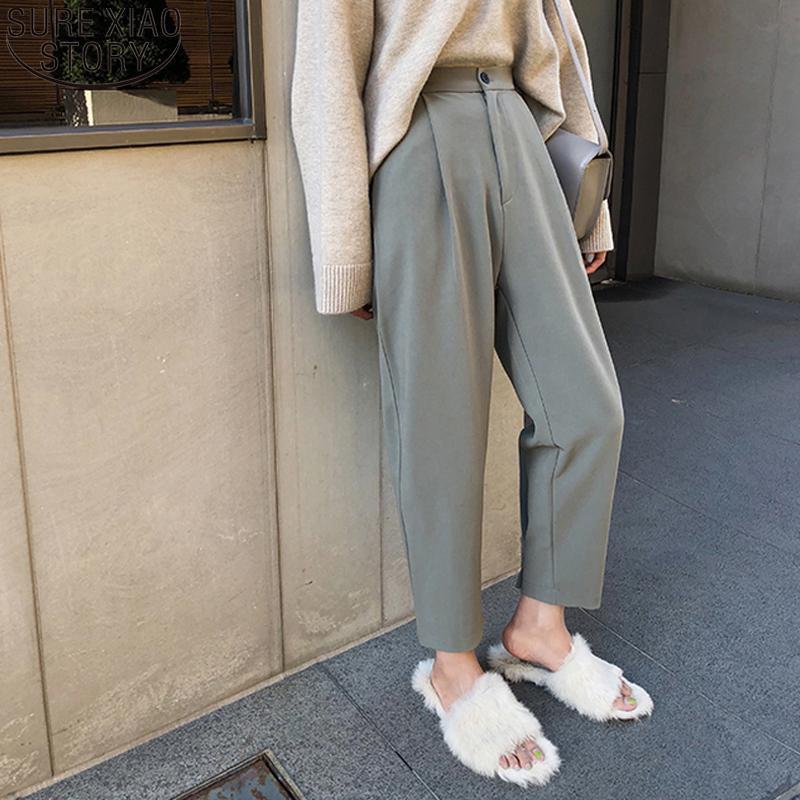 Плюс размер кнопки Костюм брюки Женщины высокой талией вскользь OL Стиль Сыпучие шаровары Спринг женских брюк Pantalon Mujer 9657 201012