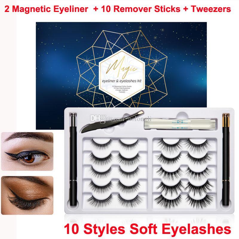 Magic False Eyelashes and Eyeliner kit Non Magnetic Lashes Liquid Eyeliner 10 Pairs Reusable 3D 6D Eye lashes Remover Stick Tweezer No Glue