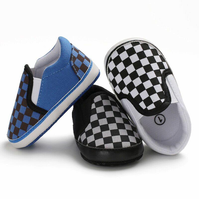 Pudcoco 2020 al bebé recién nacido niña cuna de la tela escocesa de impresión zapatos de lona de los zapatos del cochecito de niño de Prewalker Anti Slip Soft calzado deportivo de la zapatilla de deporte 0-18M