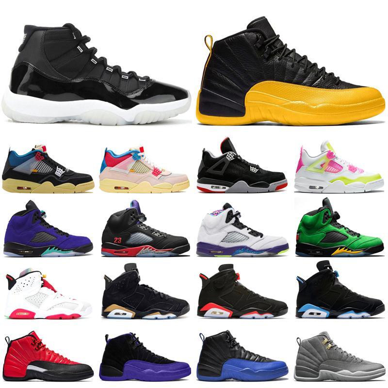 Basketbol Ayakkabıları Erkek Eğitmenler Jumpman 11s 25th Yıldönümü 12S Üniversitesi Altın 4s Birliği Albümü 5 S Mens Ayakkabı Spor Sneakers